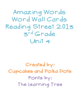 3rd Grade Reading Street Unit 4 Amazing Word Wall Cards