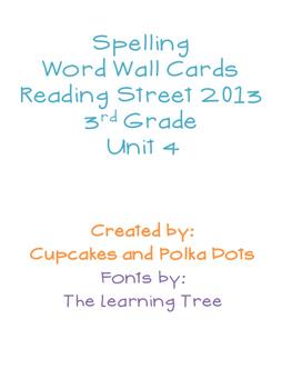 3rd Grade Reading Street Unit 4 Spelling Word Wall Cards