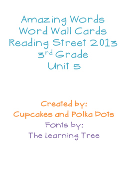 3rd Grade Reading Street Unit 5 Amazing Word Wall Cards