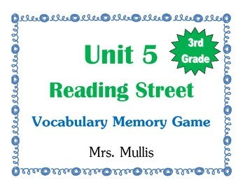 3rd Grade Reading Street Unit 5 Vocab Match