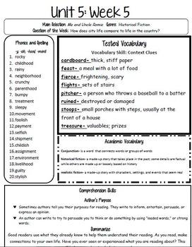 3rd Grade Reading Street Unit 5 Week 5 Study Guide