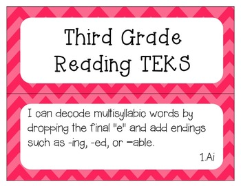"""3rd Grade Reading TEKS """"I Can"""" Statement Posters"""