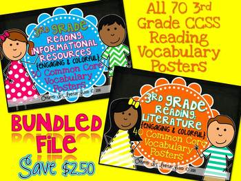 3rd Grade Reading Vocabulary Posters: BUNDLE {RI & RL}