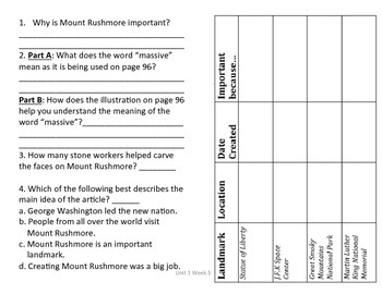 3rd Grade Reading Wonders Comprehension Worksheet A Mountain of History