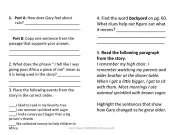 3rd Grade Reading Wonders Comprehension Worksheet Gary the Dreamer Unit 1 Week 3