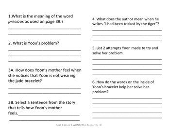 3rd Grade Reading Wonders Comprehension Worksheet Yoon and the Jade Bracelet