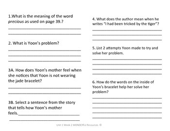 3rd Grade Reading Wonders Comprehension Worksheet Yoon and