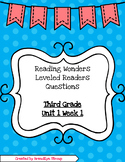 3rd Grade Reading Wonders Leveled Readers Questions - Unit 1