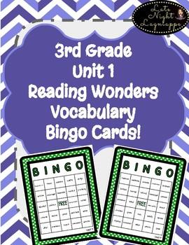 3rd Grade Reading Wonders Unit 1 Vocabulary BINGO!