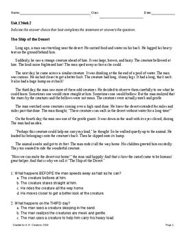 3rd Grade Reading Wonders Unit 1 Week 2 Test