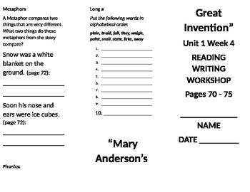 3rd Grade Reading Wonders Unit 1 Week 4