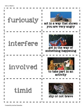 3rd Grade Reading Wonders Vocabulary Cards With Pictures Unit 2