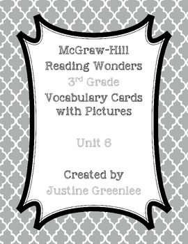 3rd Grade Reading Wonders Vocabulary Cards With Pictures Unit 6