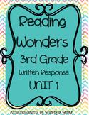 Reading Wonders Companion 3rd Grade WRITTEN RESPONSE {Unit 1}