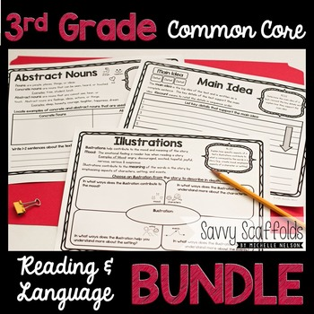3rd Grade Reading and Language Graphic Organizers Common Core Bundle