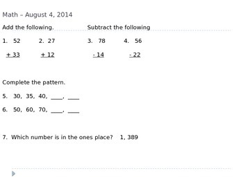 3rd Grade Reading and Math Daily Skill Review (5 days)