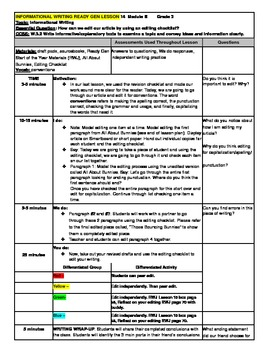 3rd Grade Ready Gen Informational Writing Lesson Plan #14