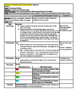 3rd Grade Ready Gen Module B Informational Writing Lesson Plan #2