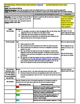 3rd Grade Ready Gen Module B Informational Writing Lesson Plan #5