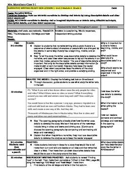 3rd Grade ReadyGEN WRITING Unit 2 Module A Lesson #1