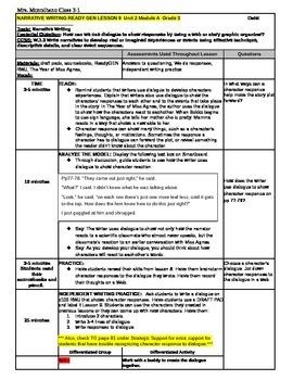 3rd Grade ReadyGEN WRITING Unit 2 Module A Lesson #9