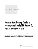 3rd Grade ReadyGen Domain Vocabulary Cards: Unit 1 Modules