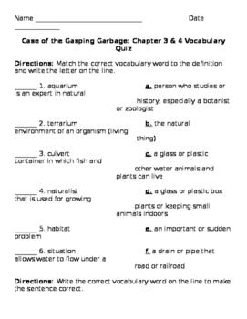 3rd Grade ReadyGen Unit1 Module A: Gasping Garbage Chap 3&4 Vocab Quiz