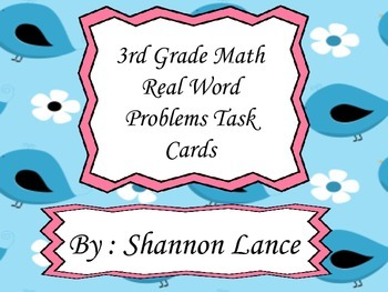 3rd Grade Real World Math Problems Task Cards