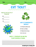 3rd Grade - Reduce, Reuse, Recycle Exit Ticket