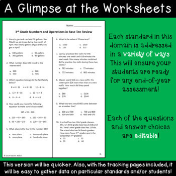 Numbers in Base Ten Review for 3rd Grade