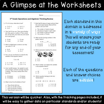 Operations and Algebraic Thinking Review for 3rd Grade