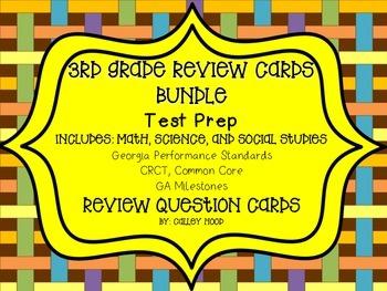 3rd Grade Review Question Card Bundle CC, GPS, Georgia Milestones Test Prep