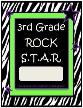 3rd Grade Rock Star Binder-Folder Covers with Zebra Print