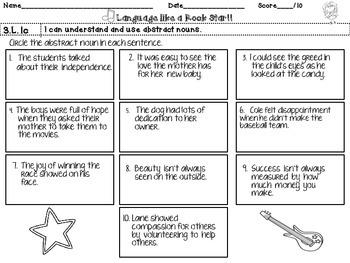 3rd Grade Rock Star Snapshots 3.L.1c: Abstract Nouns