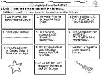 3rd Grade Rock Star Snapshots  3.L.2b: Commas in Addresses