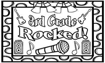 3rd Grade Rocked! End of Year Coloring Page