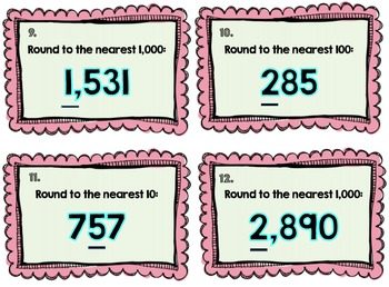 3rd Grade Rounding Task Cards: Harder Set