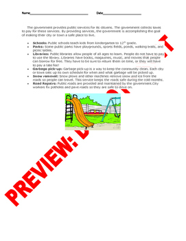 3rd Grade Rules and Government Services Assessment/Handouts
