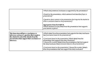 3rd Grade SBAC Claim 3/Listening Question Stems