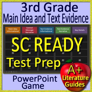 3rd Grade SC READY Test Prep Main Idea and Text Evidence Game
