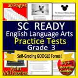 3rd Grade SC READY Test Prep ELA Printable & SELF-GRADING GOOGLE FORM TESTS!
