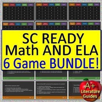 3rd Grade SC Ready Test Prep Math and ELA Games Bundle - 6 PowerPoint Games