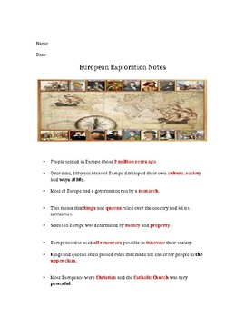 3rd Grade SS European Exploration Interactive Notes (See Also PPT!)