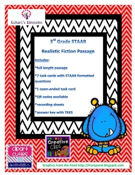 3rd Grade STAAR Aligned Realistic Fiction Passage Task Cards