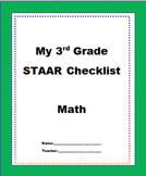 "3rd Grade STAAR Math TEKS Checklist ""NEW TEXAS MATH STANDARDS"""
