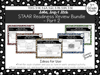 3rd Grade STAAR Readiness Review Bundle-Pt 2: 3.4K, 3.6A,