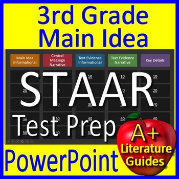 3rd Grade STAAR Test Prep Main Idea and Text Evidence Game Reading Review