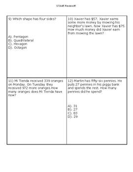 3rd Grade Math STAAR Review #1