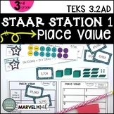 3rd Grade STAAR STATION 1: PLACE VALUE ~ TEKS 3.2A 3.2D ~ Math Center