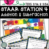 3rd Grade STAAR STATION 4: ADDITION & SUBTRACTION | TEKS 3.4A 3.5A